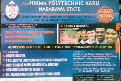 Al-Hikma Poly Admission Form 2020/2021 | Full & Part-Time
