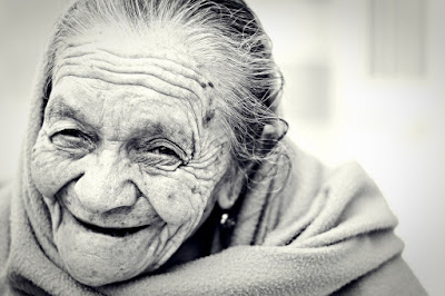 Old woman's smile