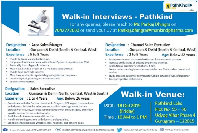 Pathkind Labs (a Mankind Pharma Company) - Walk-In Interviews on 18th Oct' 2019