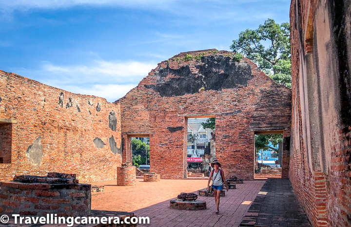 Related Blog-post : Charming Thai-style Homestay, Authentic Thai food & Ayuthhaya Travel tips || 10-Day Vacation in Thailand (Day 3)    Center part of Wat Ratcha Burana in Ayutthaya is a large Khmer style prang symbolizing Mount Meru, the center of the universe in Buddhist and Hindu cosmology. The prang is surrounded by four smaller towers, in turn surrounded by a gallery enclosing a courtyard. I remember it was very hot day when we were in Ayutthaya and lot of these structures all around the temple complex were very helpful in providing us shadow to walk around.     Related Blogpost - Temple on the Hill, Tribe in the forest, and more in Chiang Mai || 10-Day Vacation in Thailand (Day 2)