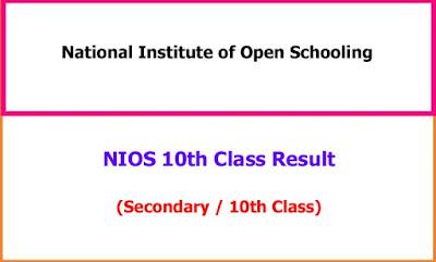 NIOS 10th Class Exam Result