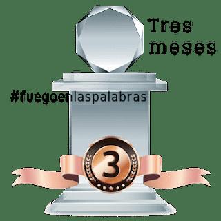 Banner trofeo de participación tres meses en Fuegoenlaspalabras