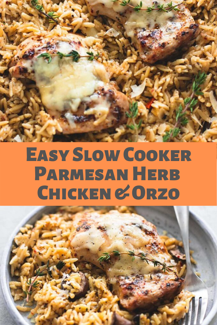 Easy Slow Cooker Parmesan Herb Chicken & Orzo