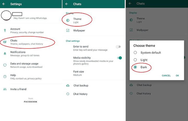 cara merubah whatsapp mode gelap mode malam dark mode