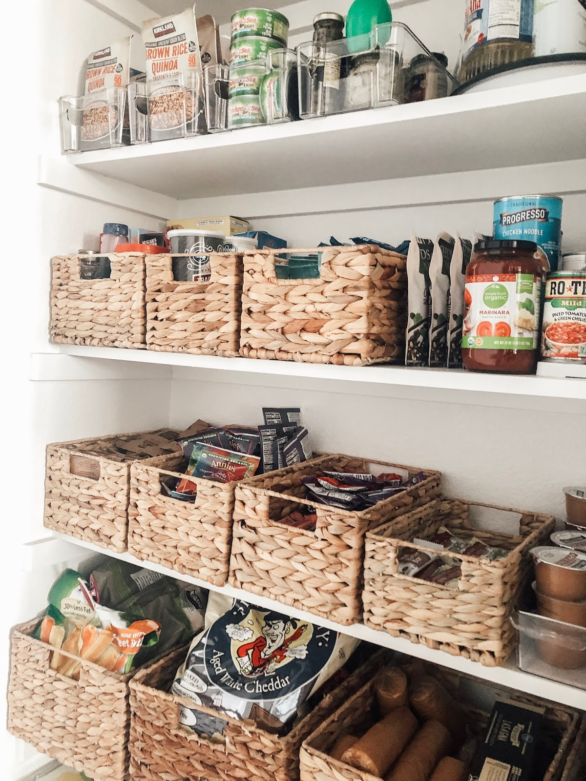 How to easily organize a pantry with woven baskets
