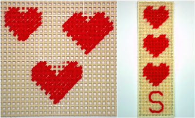 tent stitched heart patterns and bookmark