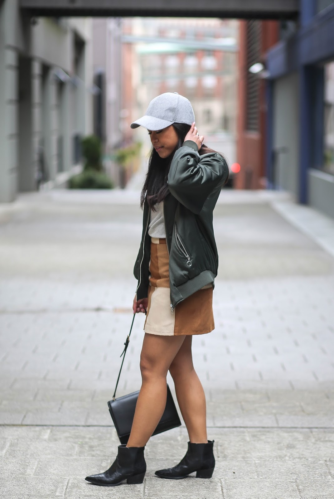 How to Style a Tan Suede Skirt: Sporty