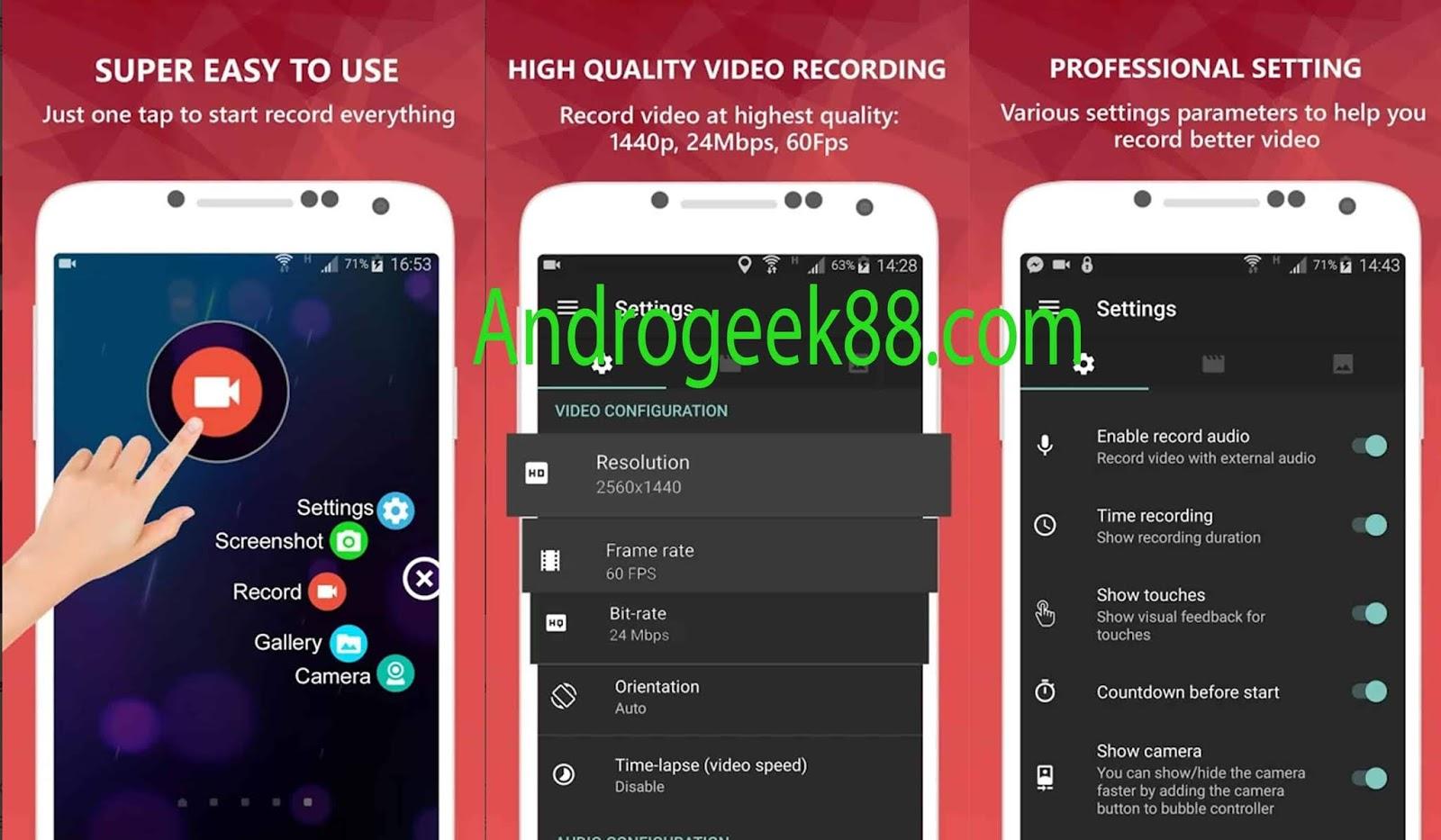 No Root] AZ Screen Recorder Premium Mod Apk V5 1 8 - AndroGeek88