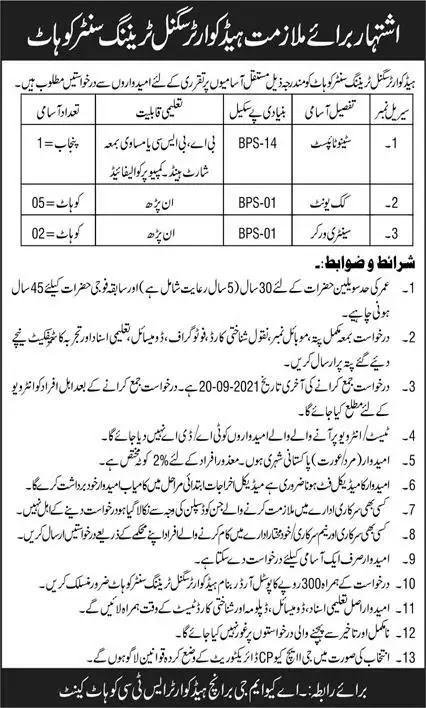 Pak Army headquarter signals Training Center Kohat Jobs 2021