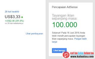 kalautau.com - Apresiasi Google Adsense, 100.000 Tayangan Iklan