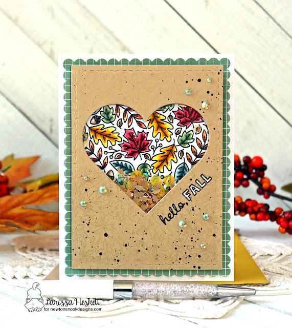 Hello Fall Shaker Card by Larissa Heskett | Heartfelt Fall Stamp Set, Heart Frames Die Set and Frames & Flags Die Set by Newton's Nook Designs #newtonsnook