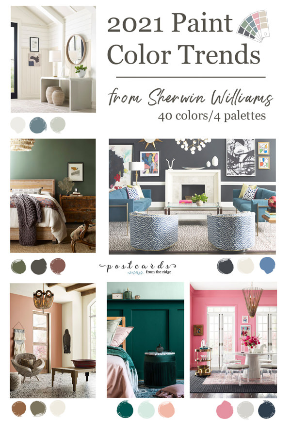 rooms painted with paint colors from the 2021 Sherwin Williams color trends