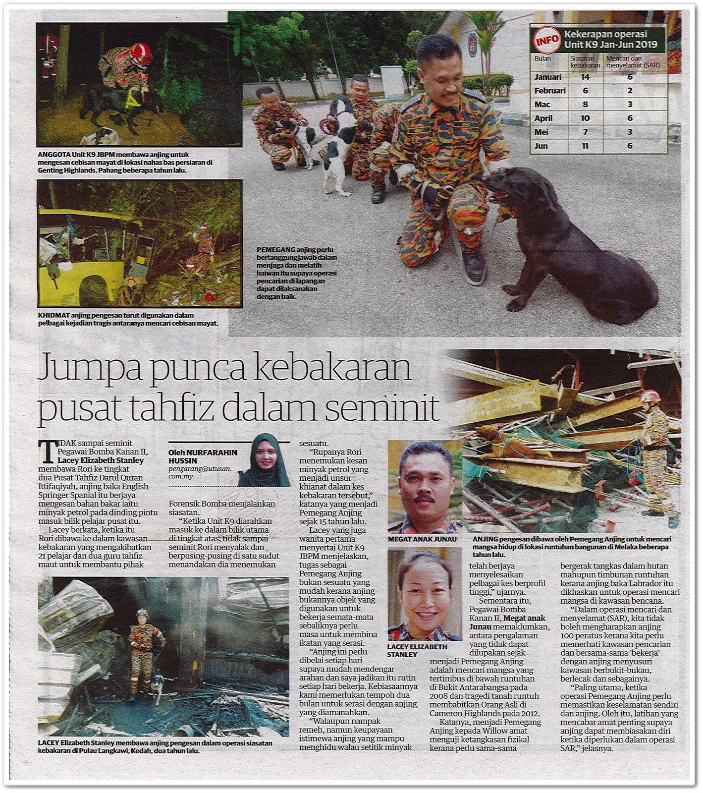 Anjing pengesan berjasa - Keratan akhbar Utusan Malaysia 8 Ogos 2019