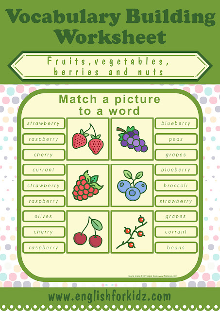 Picture to word matching worksheet to learn English vegetables and fruits vocabulary