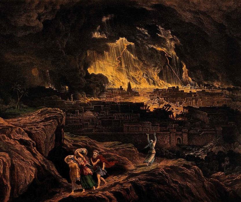 Lot e filhas fogem de Sodoma. John Martin (1789-1854), Wellcome Library no. 15821i