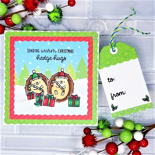 Sunny Studio Stamps: Hedgey Holidays Fancy Frame Dies Build-A-Tag Dies Hedgehog Themed Christmas Cards by Ana Anderson