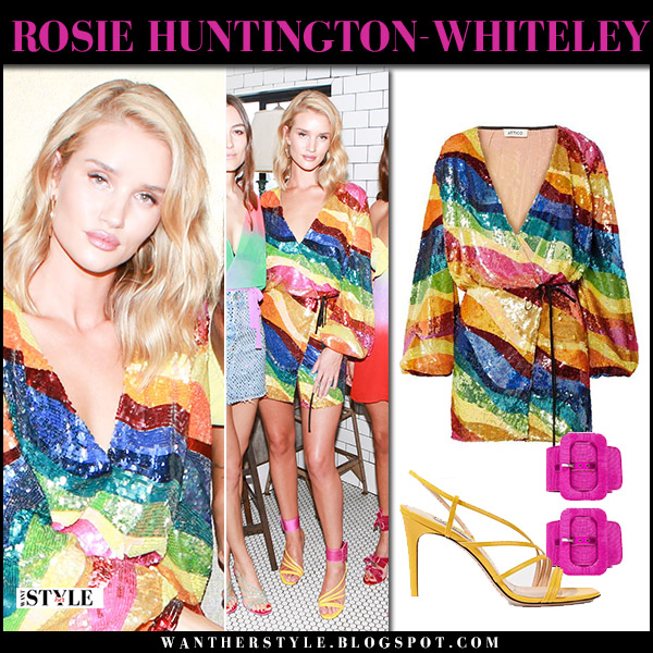 Rosie Huntington-Whiteley in sequined striped mini dress attico model style april 10