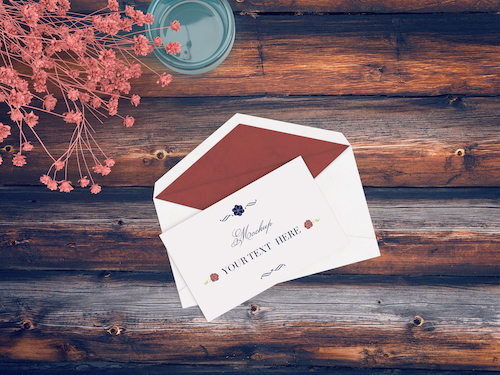 Card with envelope mockup psd