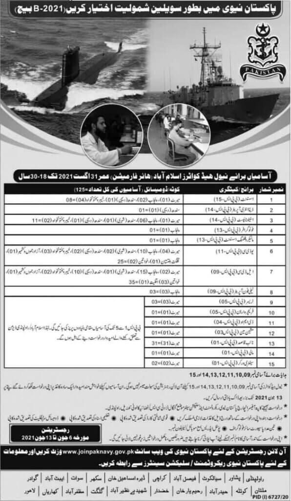 Pak Navy As Civilian Latest Jobs 2021 Advertisement - Pakistan Navy Civilian Jobs 2021 Online registration