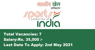 Sports Authority of India Recruitment - 7 Masseur - Last Date: 2nd May 2021
