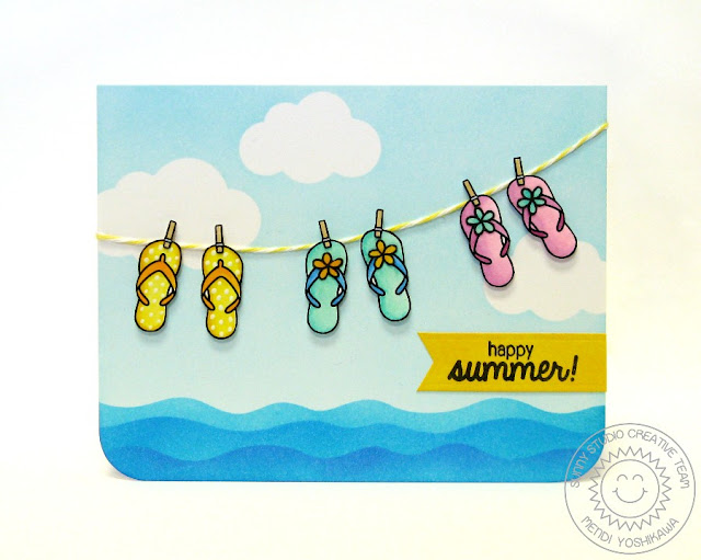 Sunny Studio: Island Getaway Flip Flops Summer Card by Mendi Yoshikawa (with Sunny Sentiments & Wavy Borders dies)