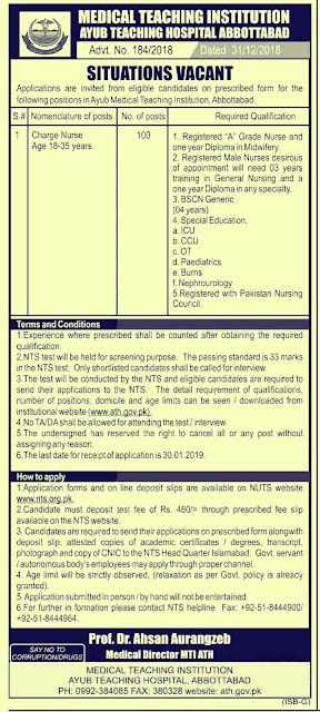 Medical Teaching Institutions Ayub Teaching Hospital Jobs 2019 Abbottabad | 100+ New Vacancies