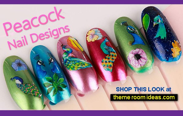 Peacock Flower Peacock Nail Sticker Peacock Nail Art Decoration Peacock Water Transfer Decals