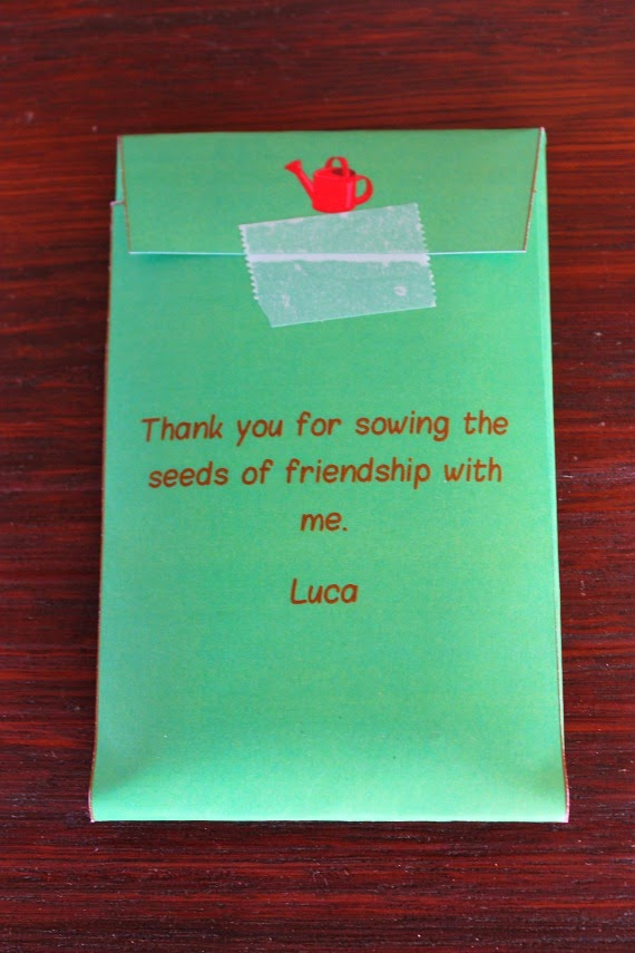 Printable Seed Packet Party Favors for Little Gardener's themed birthday party. Great party printables and kids gardening activities. www.lovethatparty.com.au