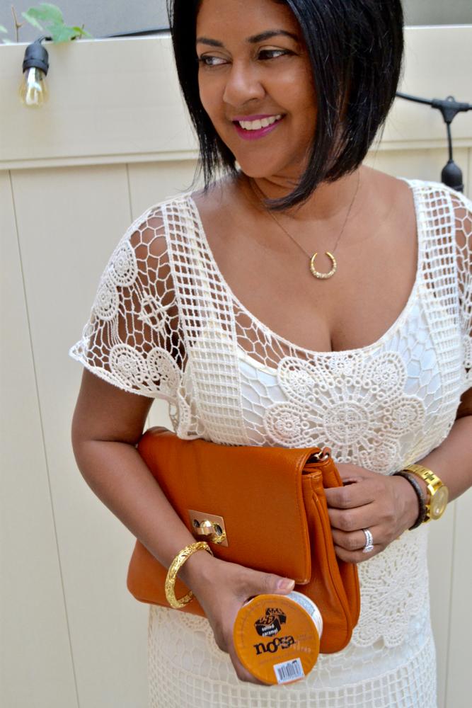 Crochet Maxi Summer dress orange clutch