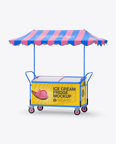 Ice Cream Fridge With Awning Mockup