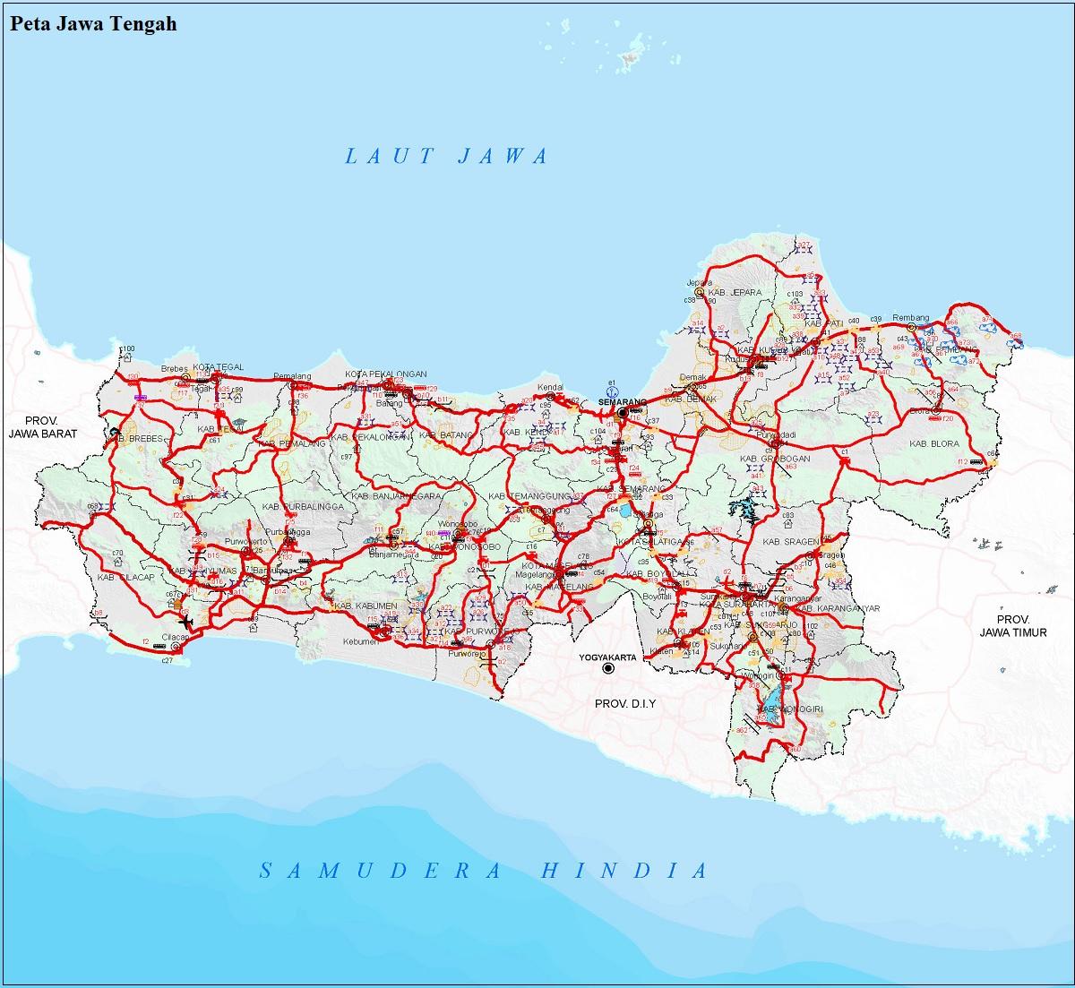 Peta Jalan di Provinsi Jawa Tengah