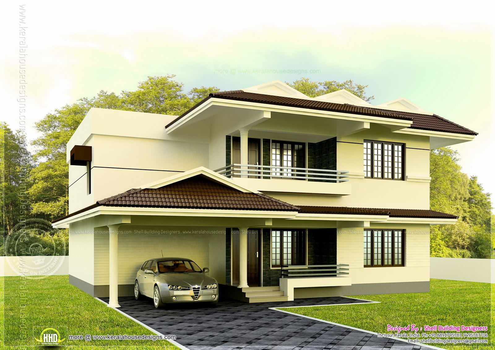 4 bedroom house exterior in 1901 square feet home kerala - Exterior designs of houses in india ...