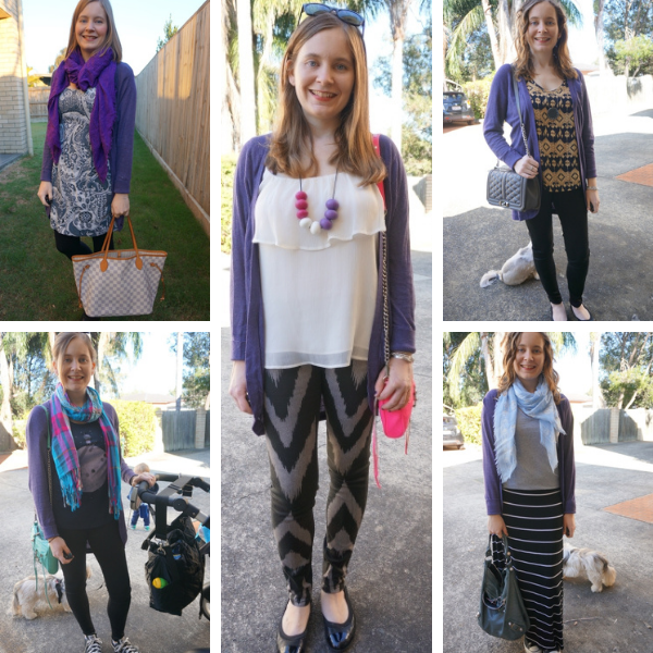 5 ways to wear adding a purple cocoon cardigan to printed outfits awayfromblue