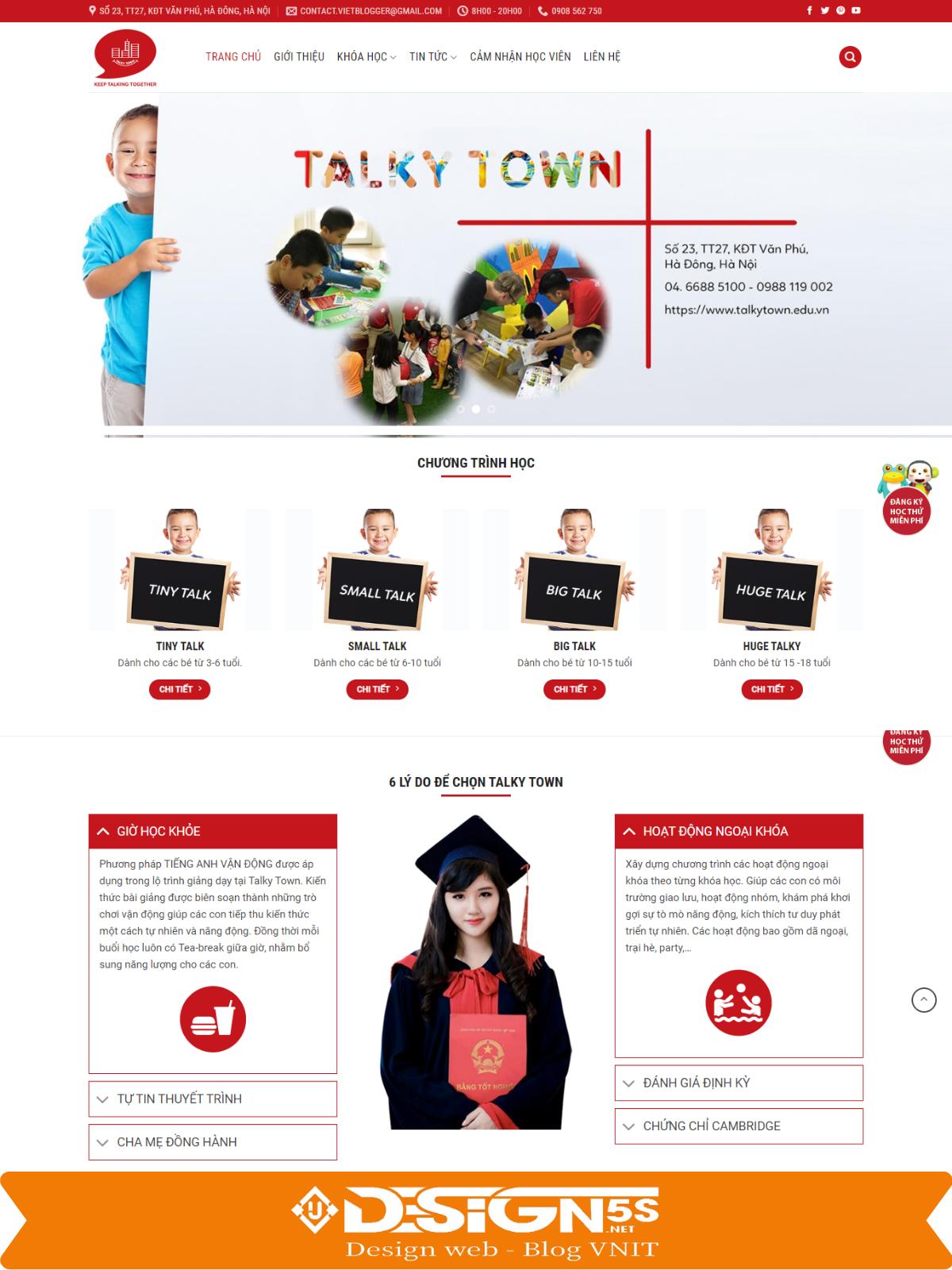 Mẫu Website landing page trung tâm tiếng Anh