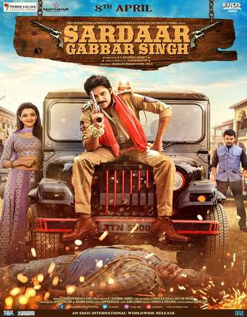 Poster Of Sardaar Gabbar Singh 2016 Dual Audio 550MB DVDRip 720p HEVC Free Download Watch Online Worldfree4u
