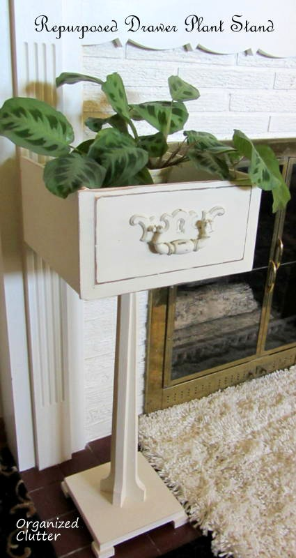 Inexpensive Drawer and Pedestal Planter www.organizedclutterqueen.blogspot.com