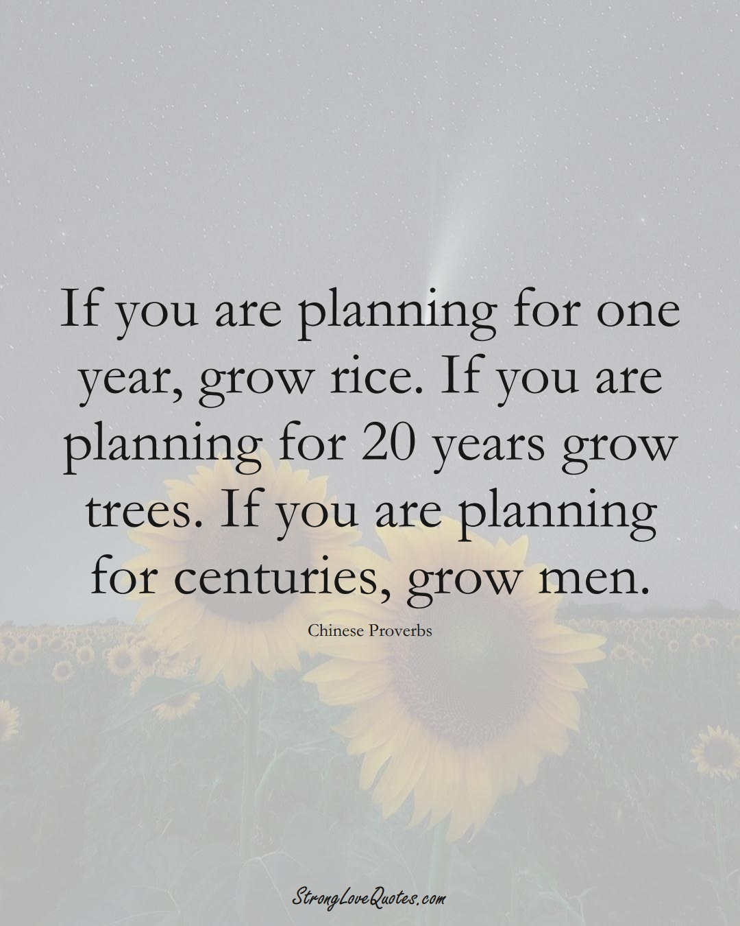 If you are planning for one year, grow rice. If you are planning for 20 years grow trees. If you are planning for centuries, grow men. (Chinese Sayings);  #AsianSayings