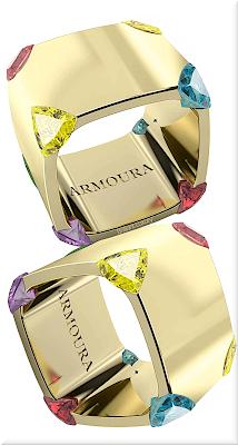 ♦Armoura Trilliant sapphires 18k yellow gold ring #jewelry #armoura #brilliantluxury