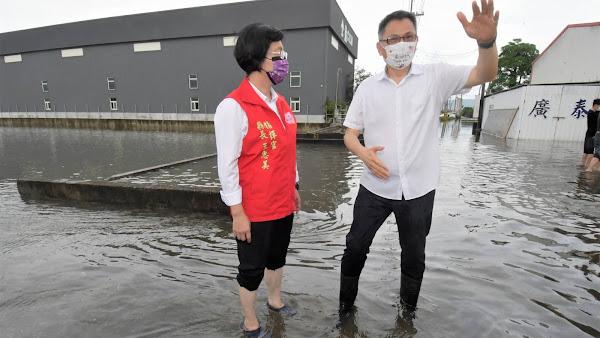 王惠美視察埔心淹水災情 洪害損失可拍照申請減稅補償