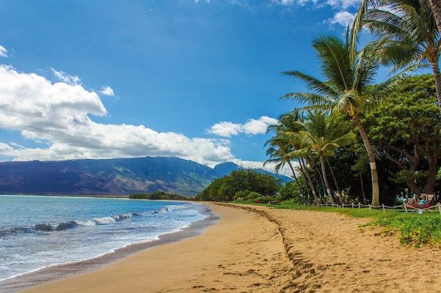 A picture of waves, mountain and beach at Hawaii Beach
