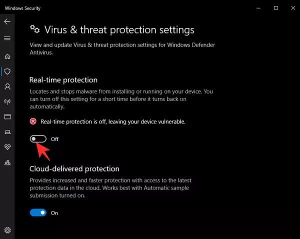 الحماية في الوقت الفعلي ويندوز