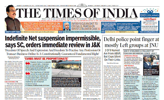 Times Of India Epaper 11th January 2020