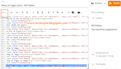 Embed Youtube Video In Blogger 4