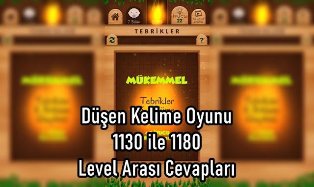 Düşen Kelime Oyunu 1130 ile 1180 Level Arasi Cevaplari