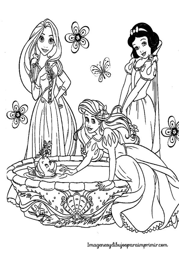 PARA COLOREAR: Princesas Disney para colorear