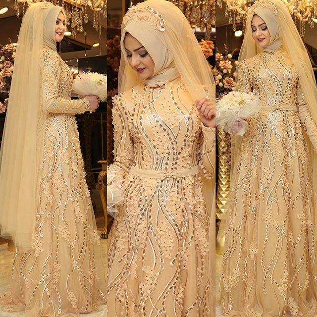 Robe hijab pour mariée style 2016,2017