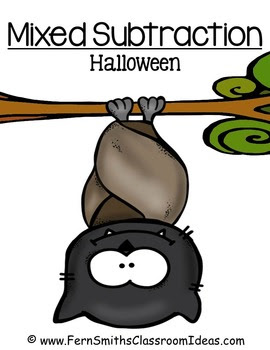 Halloween Quick and Easy to Prep Math Center Games for Mixed Subtraction Freebie