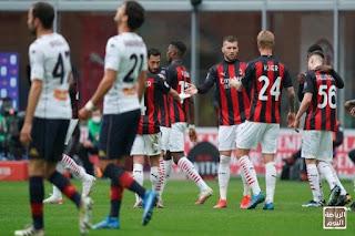 ميلان يهزم بينيفينتو ويقود للفوز بلقب الدوري الإيطالي مؤقتًا ,,,  ميلان يتقدم لوصافة الدوري إيطالي 2020 /2021 .