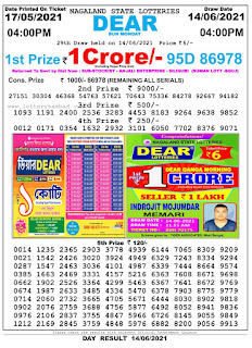 Nagaland State Lottery Result Today Evening 4PM 14/06/2021