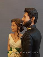 statuette cake topper personalizzate sposo con barba acconciatura sposa realistica orme magiche